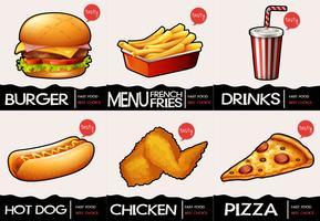 Différents types de fastfood au menu