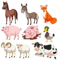 Ensemble d'animaux de la ferme vecteur