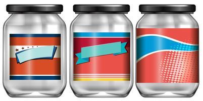 Pot en verre avec étiquette vecteur