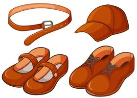 Chaussures marron et ceinture vecteur