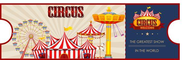 Un modèle de billet de cirque vecteur