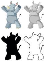 Ensemble de personnage de rhinocéros vecteur