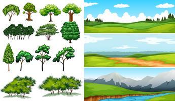 Scènes de la nature avec des champs et des montagnes vecteur