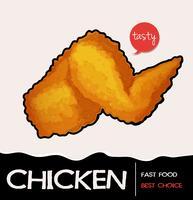 Poulet frit sur une affiche
