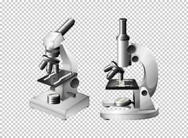Deux microscopes sur fond transparent vecteur