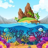 Scène avec poisson sous l'océan