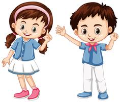 Garçon et fille au visage heureux