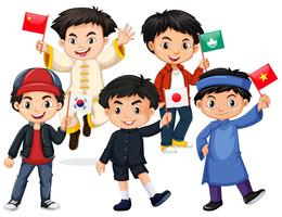 Heureux garçons tenant un drapeau de différents pays vecteur