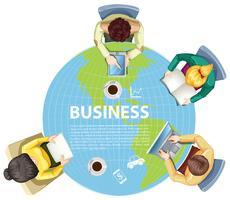 Hommes d'affaires travaillant dans le monde entier vecteur