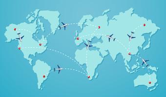 Une destination sur la carte du monde vecteur