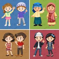 Quatre fonds de couleurs avec des enfants heureux vecteur