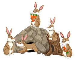 Scène de groupe de lapins vecteur