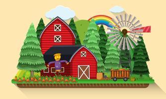 Scène de ferme avec jardin de carottes et granges rouges