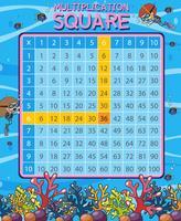 Scène sous-marine multiplication mathématique carré