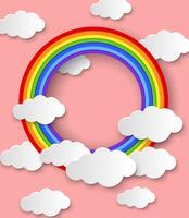 Design de fond avec arc-en-ciel sur ciel rose vecteur