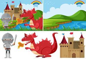 Différentes scènes de conte de fées avec chevalier et dragon vecteur