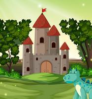 Dragon devant le château vecteur