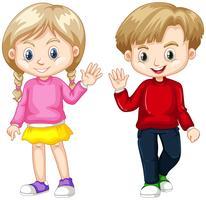 Garçon et fille, agitant les mains vecteur