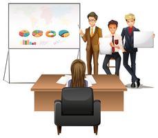 Gens d'affaires présentant des graphiques vecteur