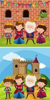 Deux familles royales au château vecteur