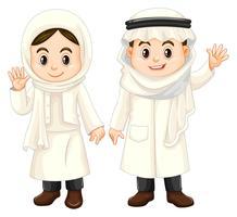 Koweït enfants en costume blanc vecteur