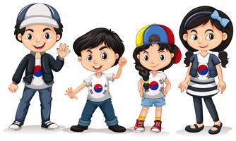 Quatre enfants de la Corée du Sud vecteur