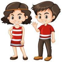 Deux enfants heureux avec grand sourire vecteur