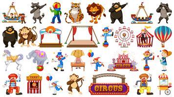 Ensemble à thème grand cirque vecteur