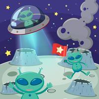 Trois extraterrestres dans un espace sombre vecteur