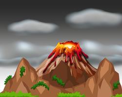 Scène de la nature avec éruption du volcan vecteur