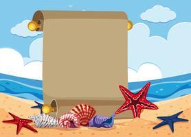 Modèle de bannière avec étoile de mer sur la plage vecteur