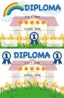 Modèle de diplôme avec bâtiment scolaire en arrière-plan