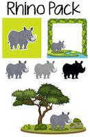 Un paquet de rhinocéros mignon vecteur