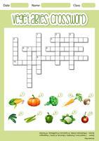 Modèle de feuille de mots croisés de légumes vecteur