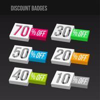 Badges de réduction 3D colorés vecteur