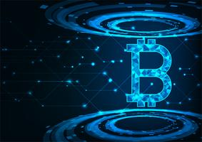Abstrait monnaie numérique futuriste avec logo monnaie numérique bitcoin, concept de réseau. vecteur