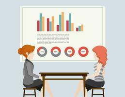 Gens d'affaires et graphiques vecteur