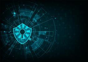 Concept de cybersécurité. Icône de bouclier avec trou de serrure sur fond de données numériques.