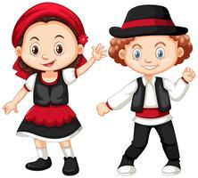 Costume de garçon et fille en Roumanie vecteur