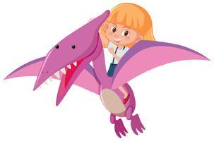 Une fille chevauchant un dinosaure vecteur