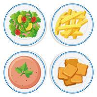 Différents plats dans les assiettes