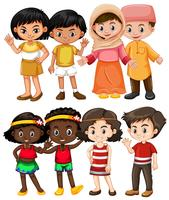 Enfants heureux de différents pays vecteur