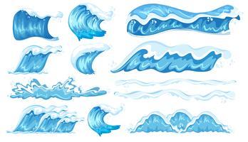 Ensemble de différentes vagues vecteur