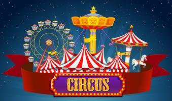 Une bannière de cirque sur ciel vecteur