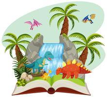 Un livre ouvert de dinosaure vecteur
