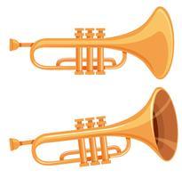 Ensemble de trompette sur fond blanc vecteur