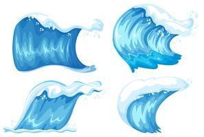 Ensemble de vague bleue vecteur