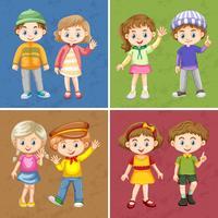 Enfants heureux, agitant les mains bonjour