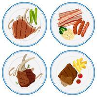 Différentes viandes grillées sur des assiettes vecteur