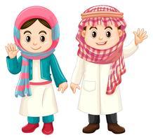 Garçon et fille en costume de Koweït vecteur